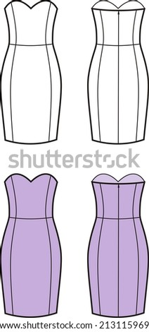 Illustration of women's dress. Front and back views. Raster version