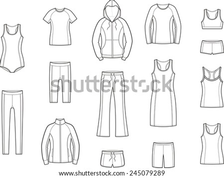 Illustration of women's sport clothes. Raster version - stock photo