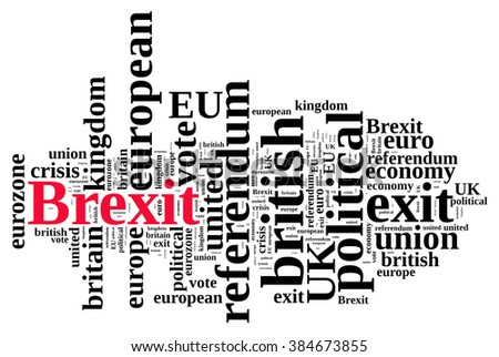 Illustration of word cloud on Brexit, the exit of United Kingdom of the European Union - stock photo