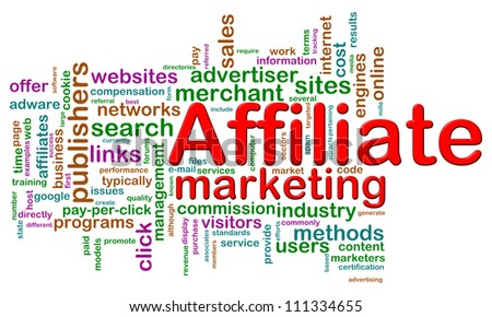 Illustration of word tags of affiliate marketing wordcloud - stock photo