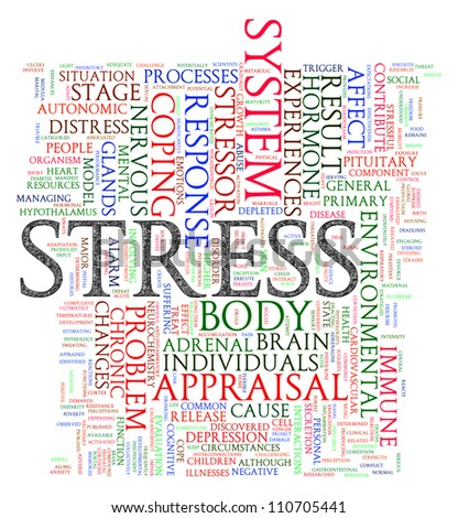 Illustration of word tags of stress wordcloud - stock photo