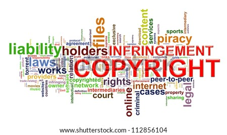 Illustration of word tags representing concept of copyright infringement.