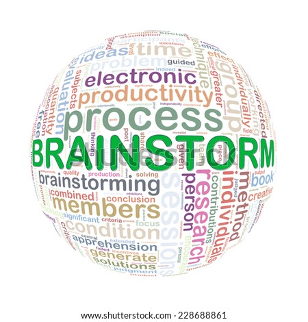 Illustration of word tags wordcloud ball sphere of brainstorm
