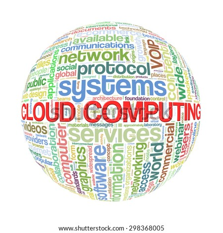 Illustration of word tags wordcloud ball sphere of cloud computing - stock photo