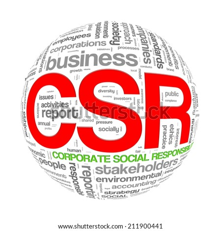 Illustration of word tags wordcloud ball sphere of  csr - corporate social responsibility - stock photo
