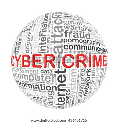Illustration of word tags wordcloud ball sphere of cyber crime - stock photo