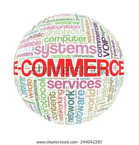 Illustration of word tags wordcloud ball sphere of ecommerce - stock photo