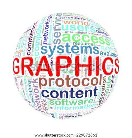 Illustration of word tags wordcloud ball sphere of graphics