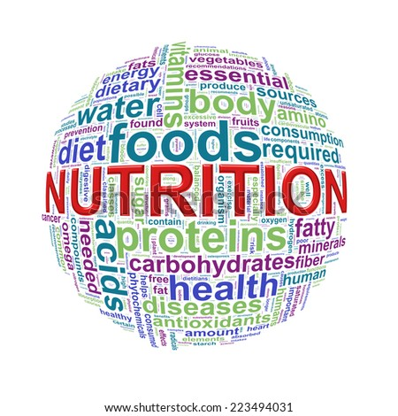 Illustration of word tags wordcloud ball sphere of nutrition - stock photo