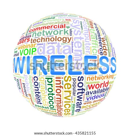 Illustration of word tags wordcloud ball sphere of wireless