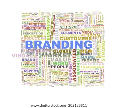 Illustration of word tags wordcloud of branding - stock photo