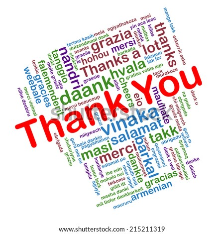 Illustration of word tags wordcloud of thank you, many languages - stock photo