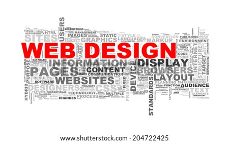Illustration of word tags wordcloud of web design - stock photo