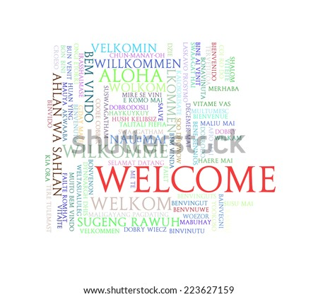 Illustration of word tags wordcloud  of welcome in different languages - stock photo