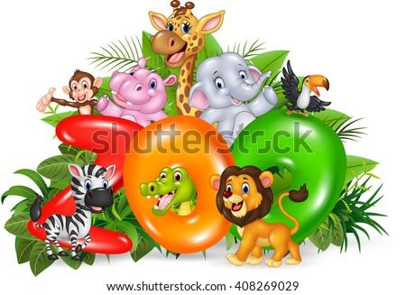 Illustration of Word zoo with cartoon wild animal - stock photo