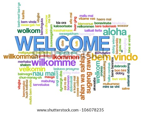 ... of wordcloud of welcome in world different languages. - stock photo: http://www.shutterstock.com/s/%22different+languages%22/search.html