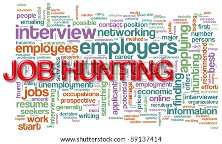 """Illustration of wordcloud related to """"job hunting"""" - stock photo"""