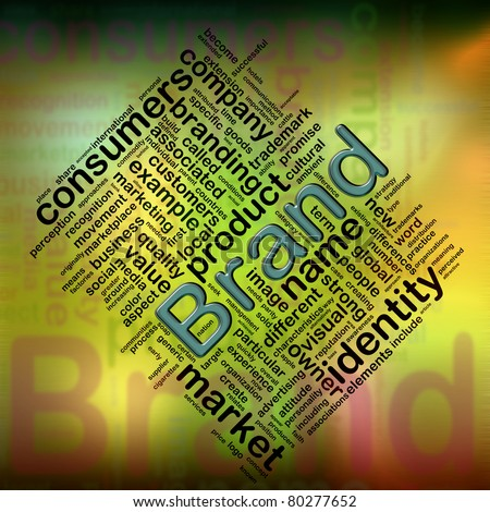 Illustration of wordcloud related to word 'brand' - stock photo