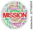Illustration of wordcloud related to word mission - stock photo