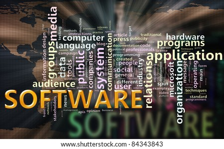 Illustration of wordcloud related to word 'software' - stock photo