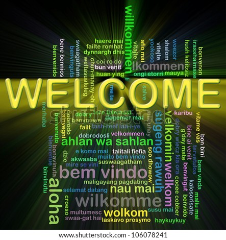 Illustration of wordcloud representing word welcome in world different languages. - stock photo
