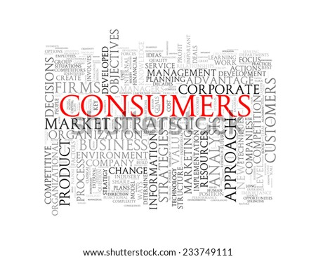 Illustration of wordcloud word tags of concept of consumers - stock photo