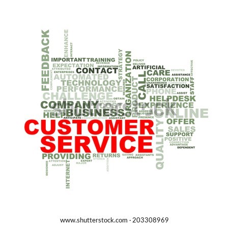Illustration of wordcloud word tags of concept of customer service  - stock photo