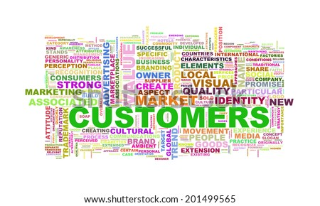 Illustration of wordcloud word tags of concept of customers - stock photo