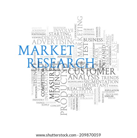 Illustration of wordcloud word tags of concept of market research - stock photo