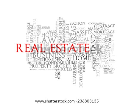 Illustration of wordcloud word tags of concept of real estate - stock photo