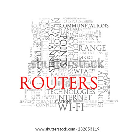 Illustration of wordcloud word tags of concept of routers - stock photo