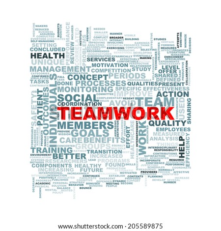 Illustration of wordcloud word tags of concept of teamwork - stock photo