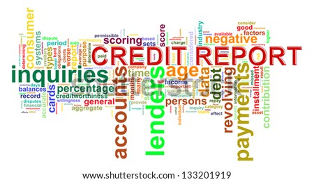 Illustration of wordcloud word tags of credit history report - stock photo