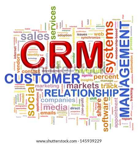 Illustration of wordcloud word tags of crm customer relationship management - stock photo