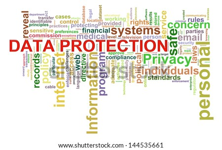 Illustration of wordcloud word tags of data protection concept. - stock photo
