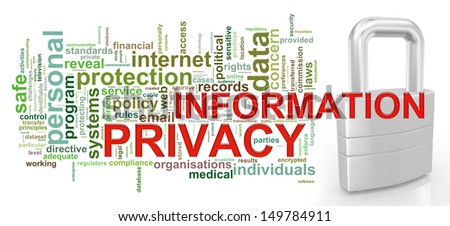 Illustration of Wordcloud word tags of information privacy concept - stock photo