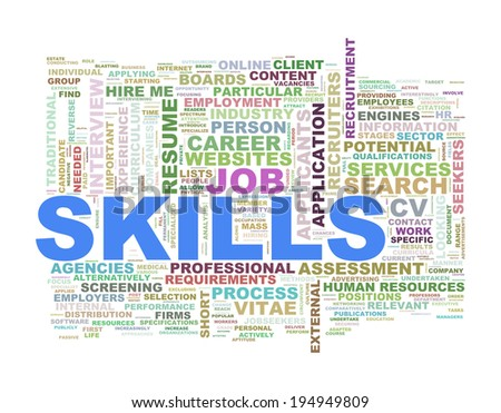 Illustration of wordcloud word tags of skills concept - stock photo