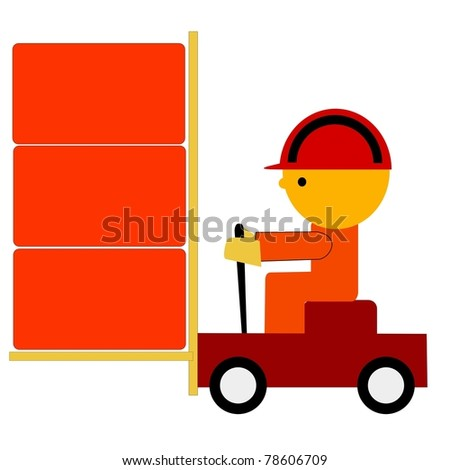 Illustration of worker on trolley - stock photo