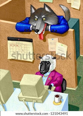 illustration of Workplace Sexual Harassment - stock photo