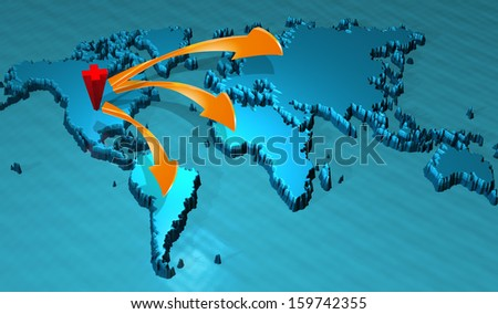 illustration of world map in blue and orange arrows     - stock photo