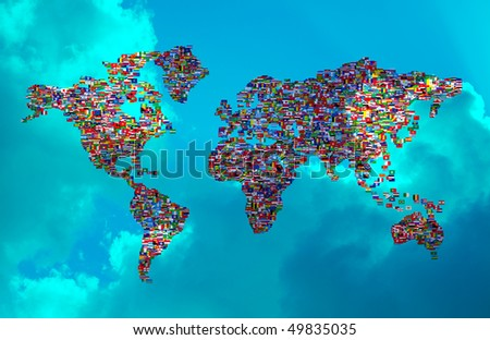 Illustration of World Map made  from World Flags on cloudy sky - stock photo