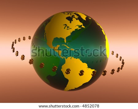 Illustration of World with circulating dollars, Globalization,  financial concept, - stock photo