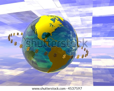 Illustration of World with circulating dollars, internet transfer, Globalization, financial concept, - stock photo
