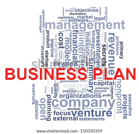 Illustration of Worldcloud word tags of business plan - stock photo