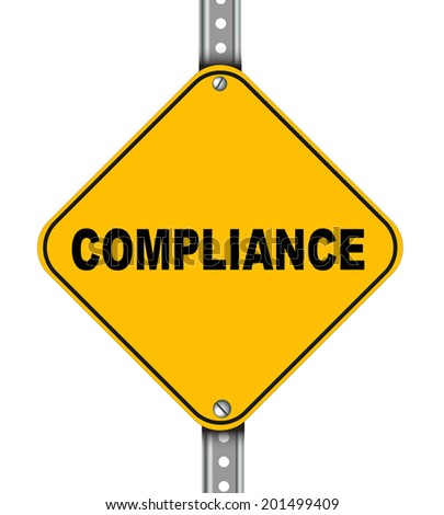 Illustration of yellow signpost road sign of compliance - stock photo