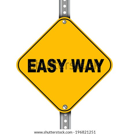 Illustration of yellow signpost road sign of easy way - stock photo
