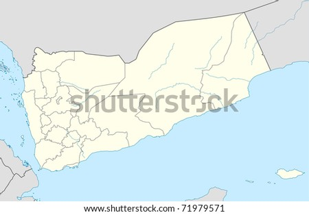 Illustration of Yemen map showing the state borders. - stock photo