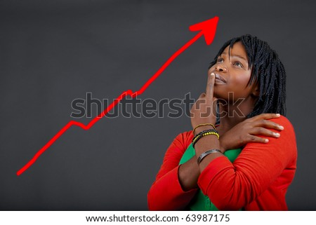 illustration of young African woman thinking about personal growth - stock photo