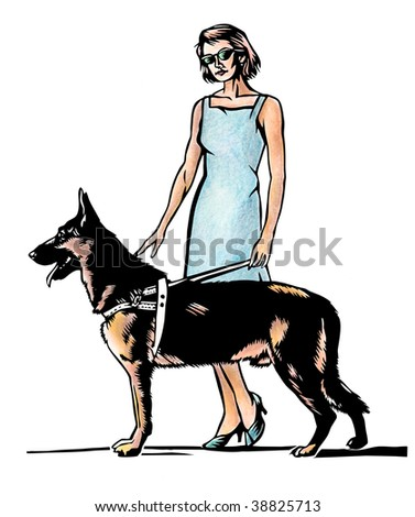 Illustration of young blind woman with German shepherd - stock photo