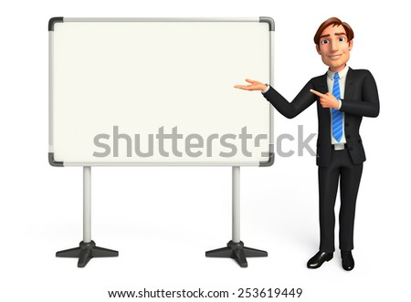Illustration of Young Business Man with display board - stock photo